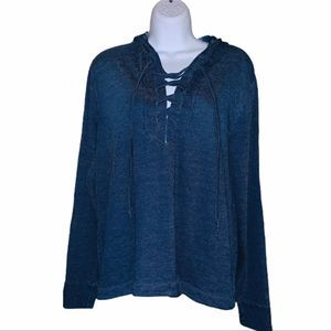 Anthropologie Cloth and Stone Lace Up Hoodie Sz S